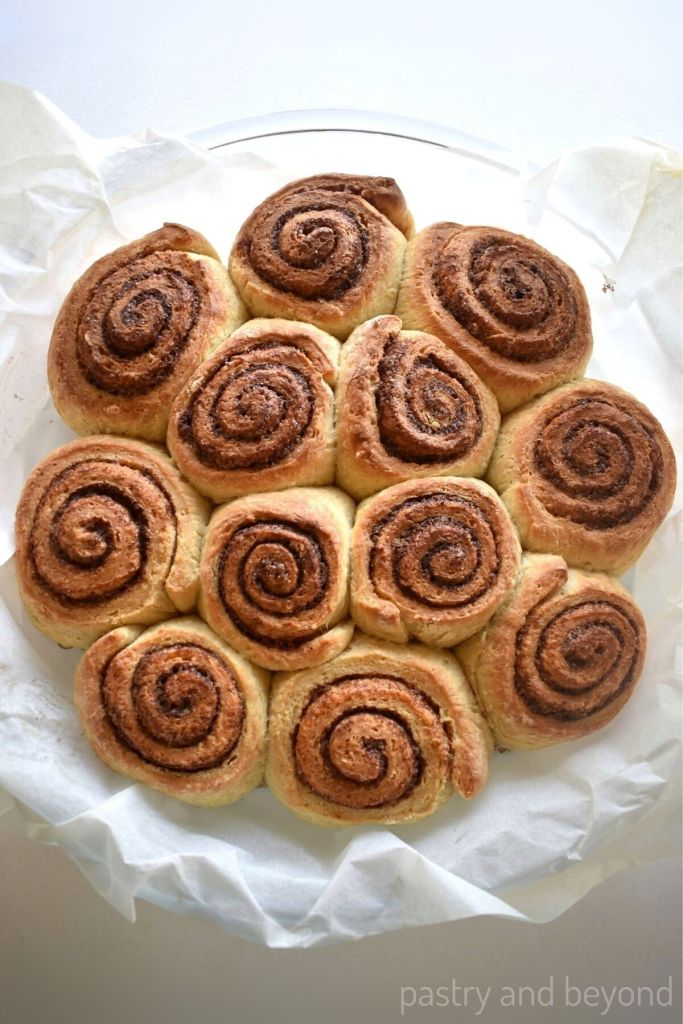 Cinnamon rolls in a dish without icing.