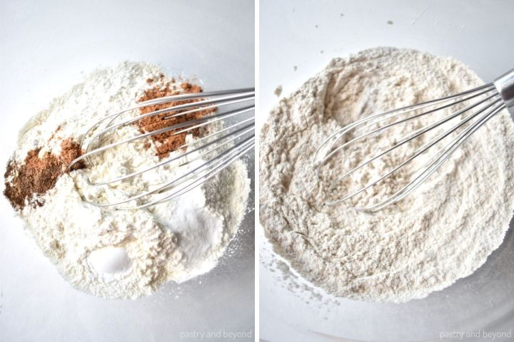 Collage of mixing dry ingredients.