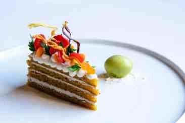 Carrot Cake with Kohlrabi Leaf Ice Cream