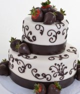 Strawberry with chocolate wedding cake