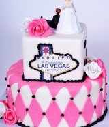 Vegas theme wedding cake with pink