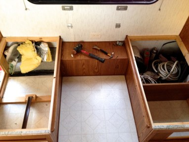 banquette demo in our travel trailer turned tiny house remodel