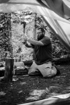 chopping firewood withthe grandsfors bruks axe