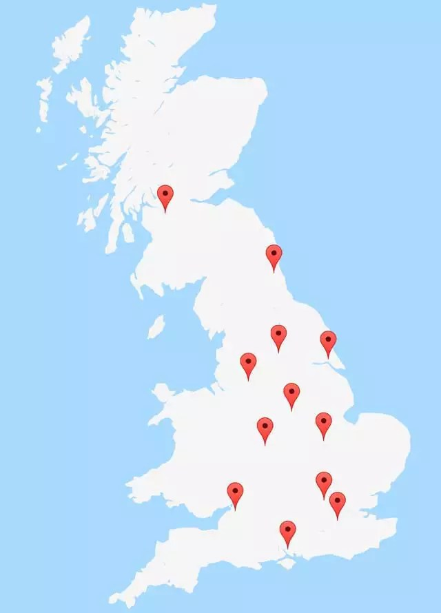 UK PAT Testing Course Venue Map