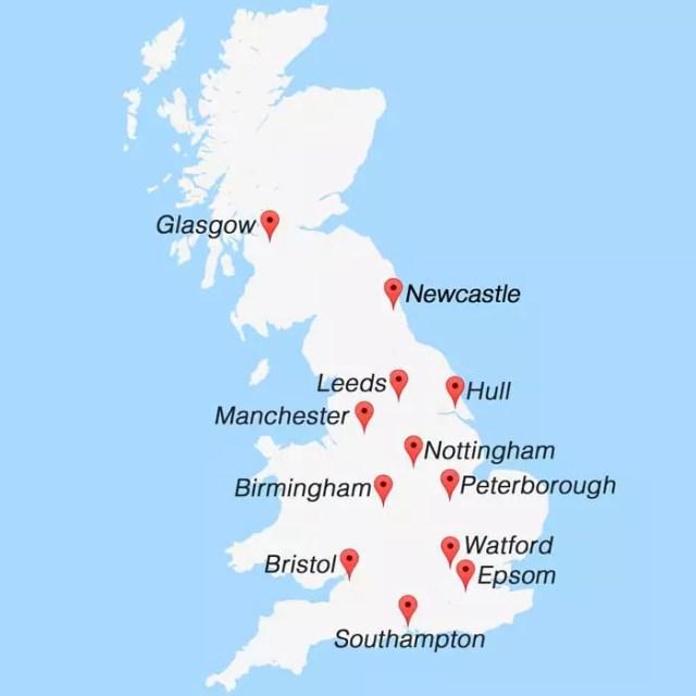 UK PAT Training Venue Map