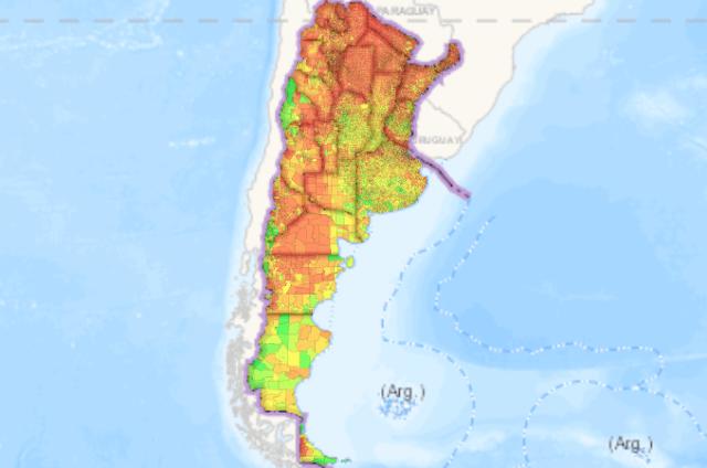 Mapa de Argentina con los índices en colores.