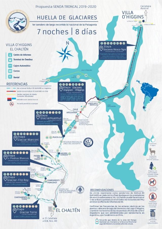 Avanza el proyecto Huella Glaciares. Mapa del recorrido.