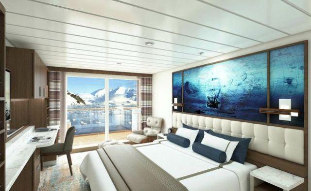 Las lujosas habitaciones del crucero que parte de Ushuaia.