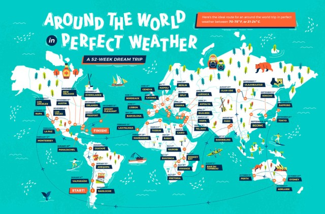 Mapa del buen clima para pasar un año perfecto comenzando en Bariloche.