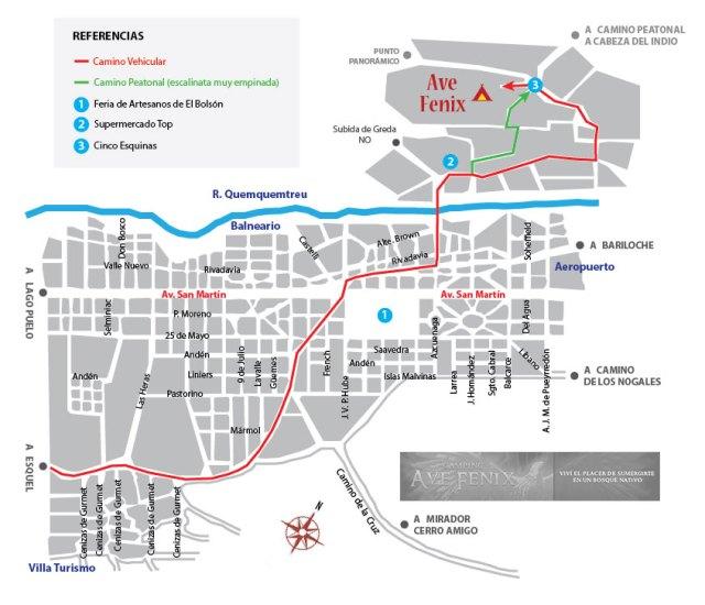 Mapa para llegar al camping Ave Fénix en El Bolsón