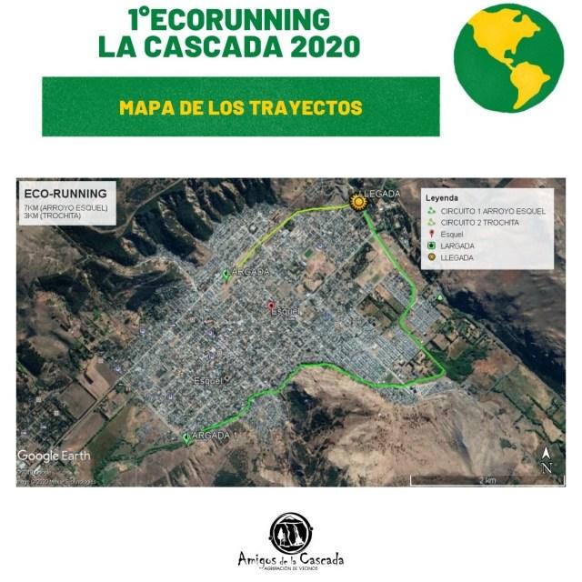 Mapa del recorrido del ecorunning en Esquel. Plogging en la Patagonia.
