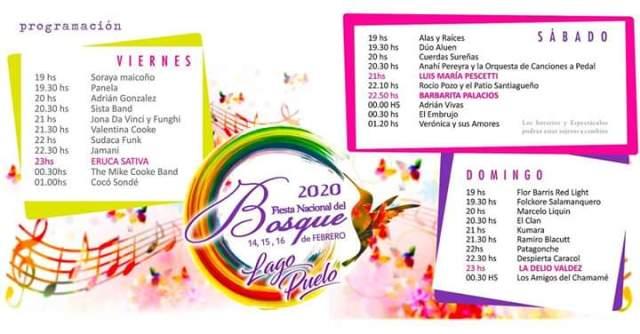 Cronograma de la Fiesta Nacional Del Bosque 2020 en Lago Puelo.