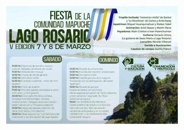 Cronograma de actividades de la Fiesta Mapuche en Lago Rosario.