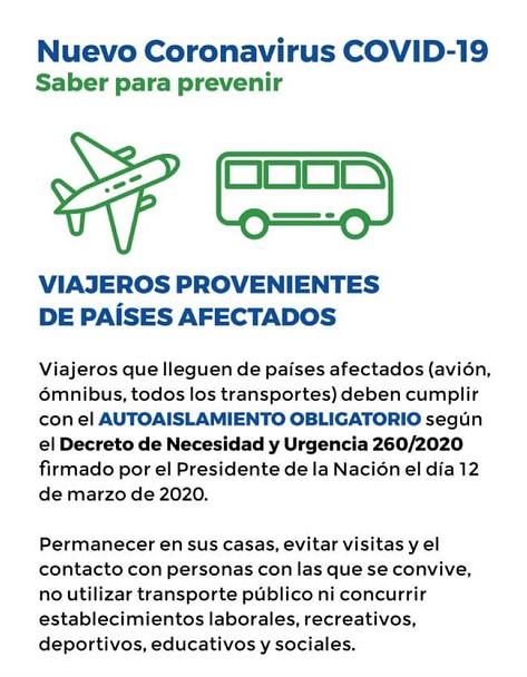 Flyer con mensaje de la Comarca Andina por la pandemia.