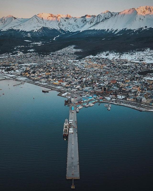 Panorámica del invierno en Ushuaia.