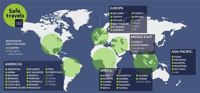 Mapa de los destinos turísticos seguros en el mundo.