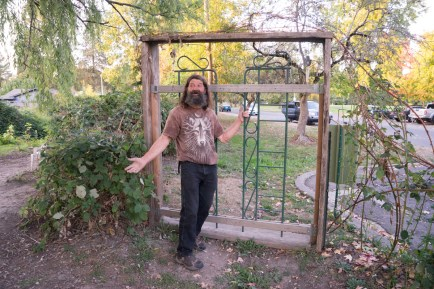 This gate Perry is building from some of his street finds.
