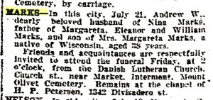 MarksAndrewW-DeathNotice-SFChronicle-22Jul1915-Pg4