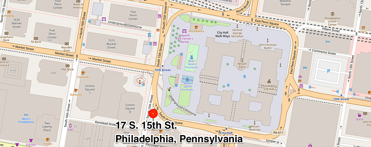 Map showing location of 17 S. 15th St. Philadelphia, Pennsylvania