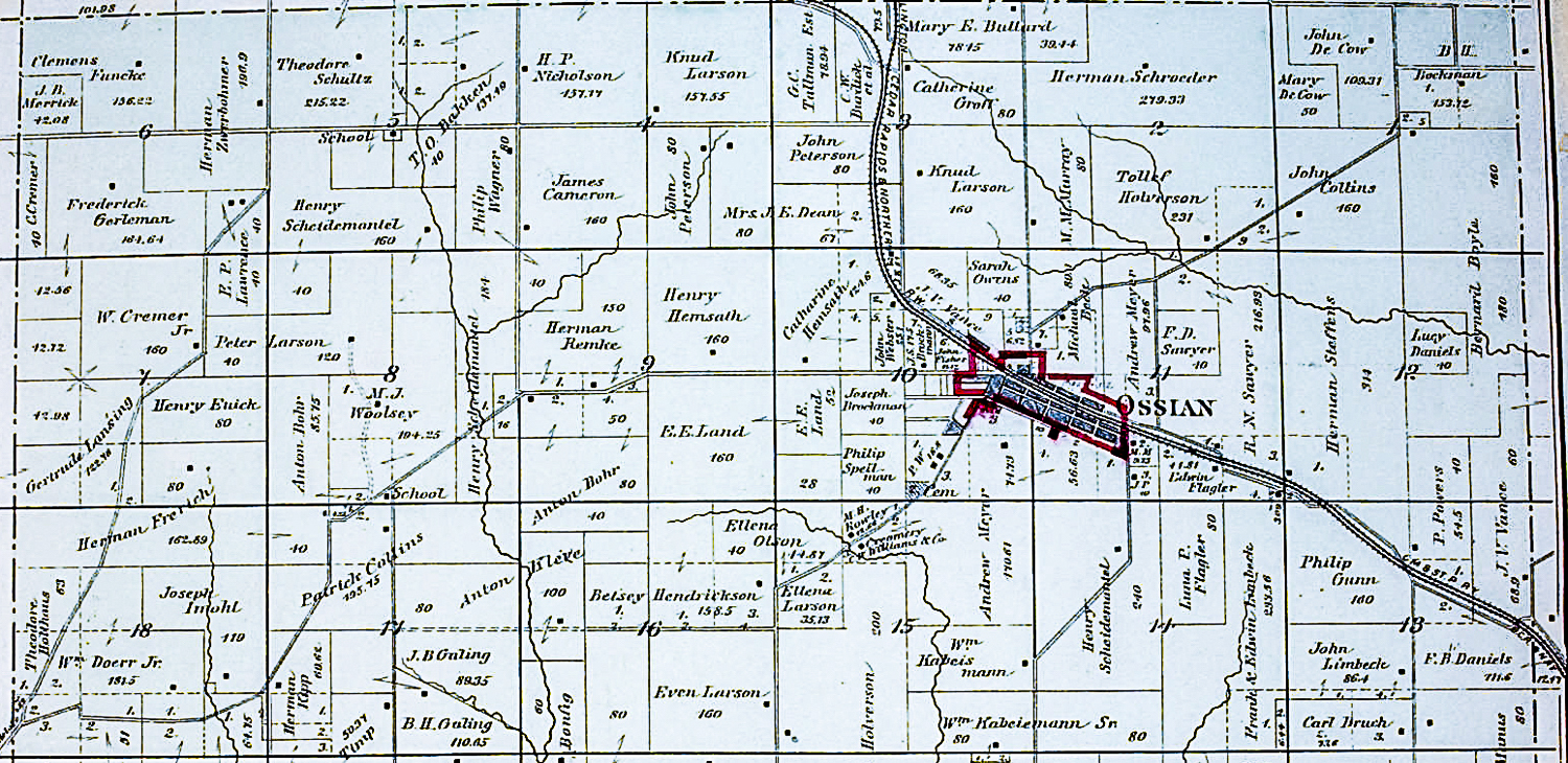 1886 Plat Map of Sections 1-18 of Military Township, Winneshiek County, Iowa