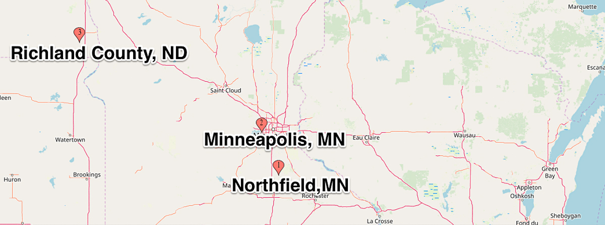 Map showing Minneapolis and Northfield mn