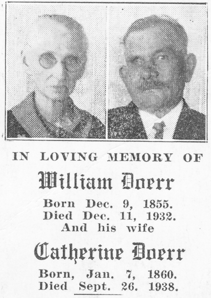 In Memory of William and Catherine Doerr