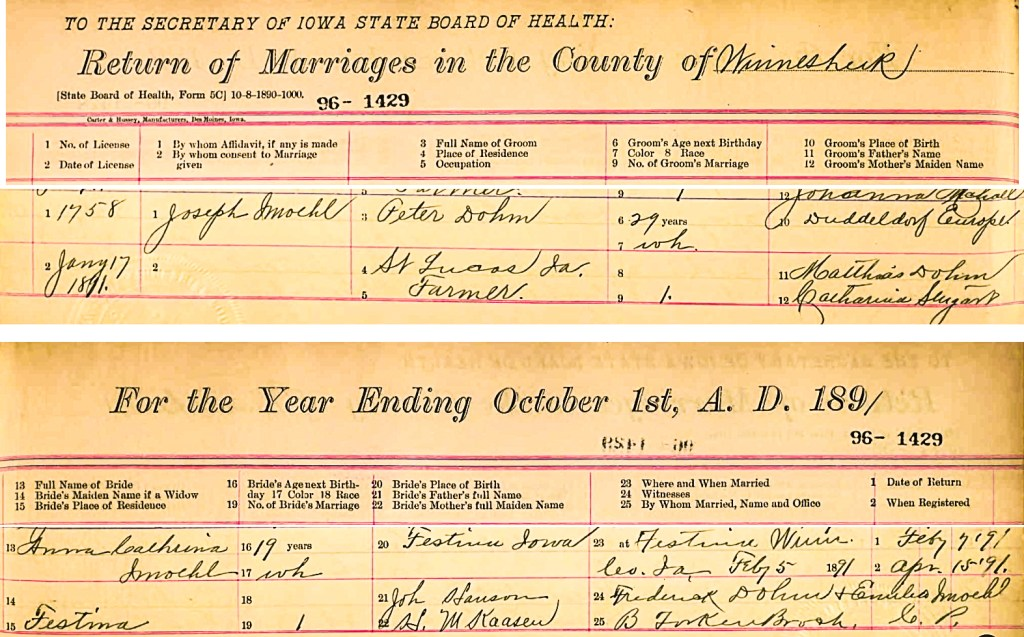 Anna Catherine Imoehl and Peter Dohm Marriage Record