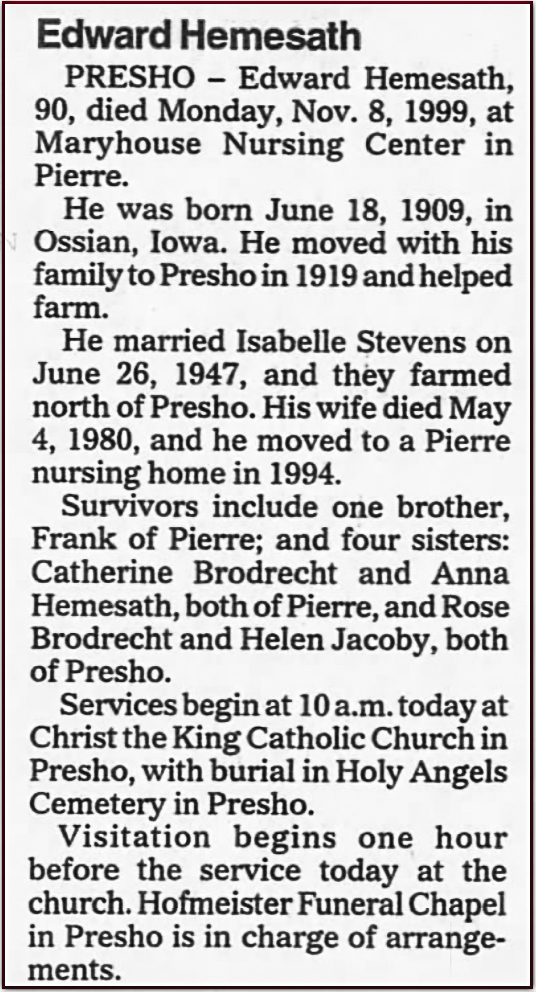 Edward Hemesath Obituary