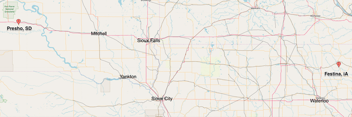 Map showing location of Festina, Iowa and Presho, South Dakota