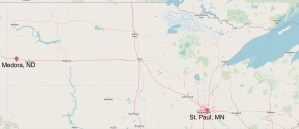 Map Showing St. Paul, MN and Medora, ND