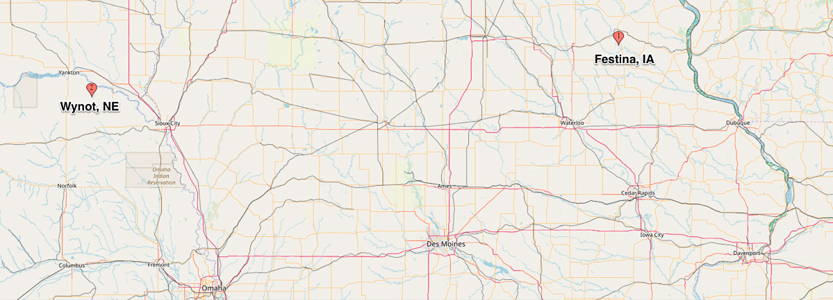 Map showing location of Wynot, NE and Festina, IA