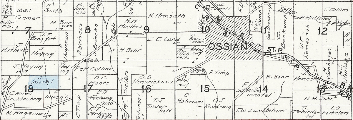John Imoehl - 1930 Plat of sections7-18, Military Township, Iowa