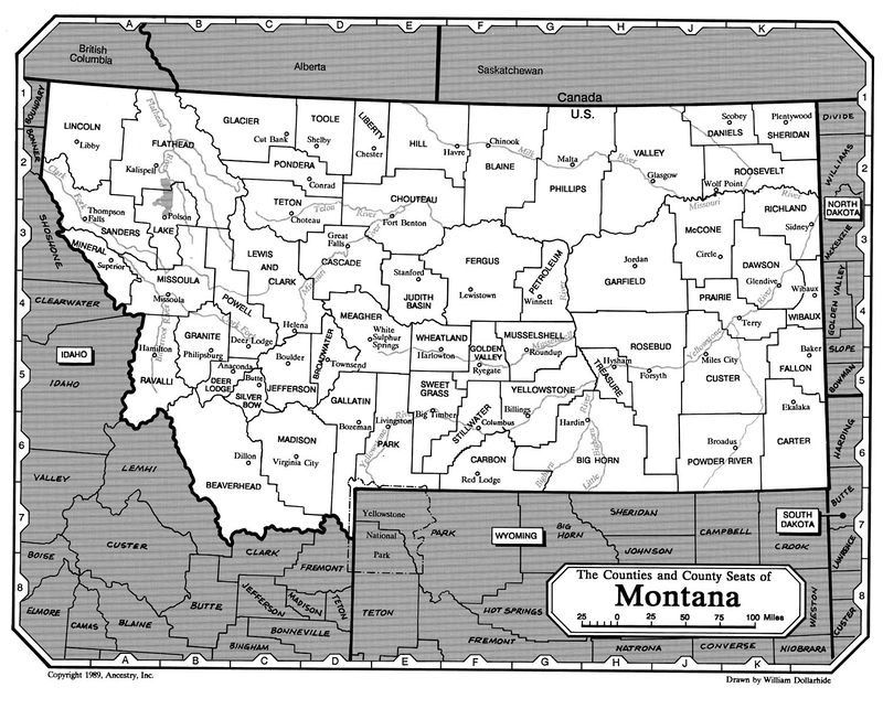 The Counties and County Seats of Montana Map