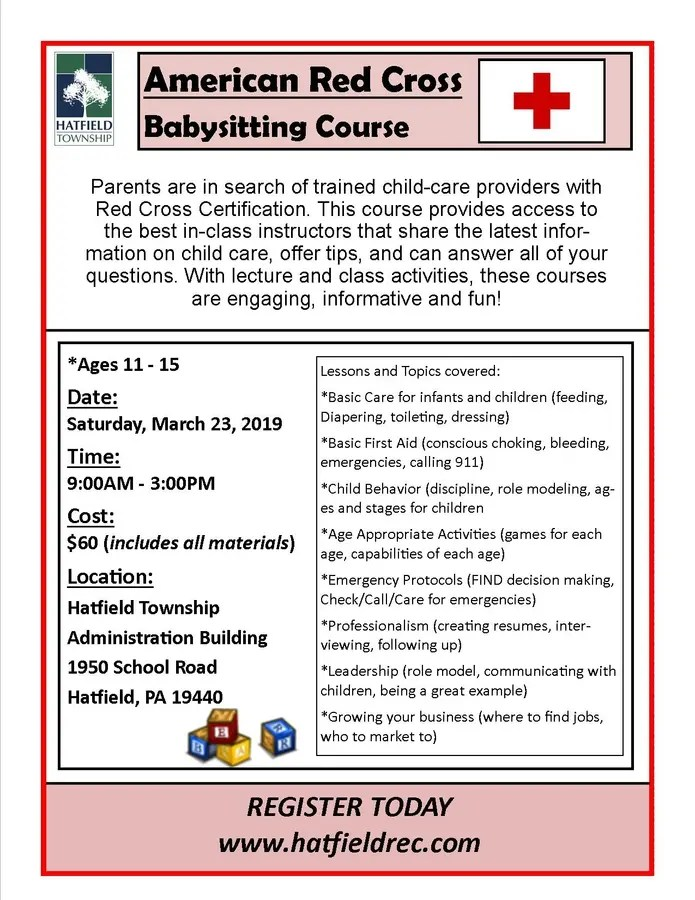 Mar 23 American Red Cross Babysitting Course