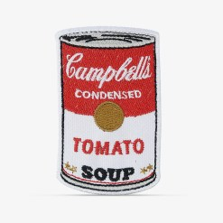 Patch Bordado Sopa Campbell's do artista Andy Warhol, com termocolante 5,6x9cm da PATCH GANG
