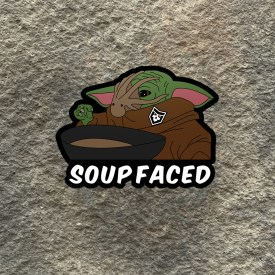 Baby Yoda:   Soup Faced Vinyl Decal