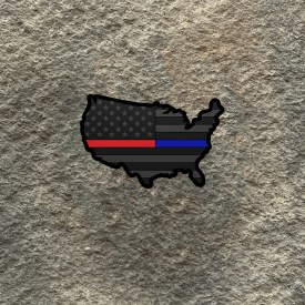 USA Shape American Flag Thin Red/Thin Blue Line Vinyl Decal