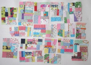 Scrap blocks on the design wall by Allison Reid