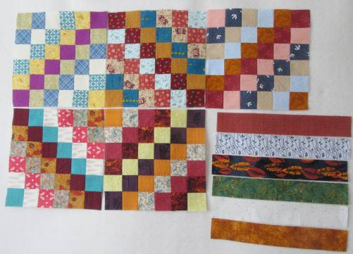 Five Trip Around the World blocks by Allison Reid