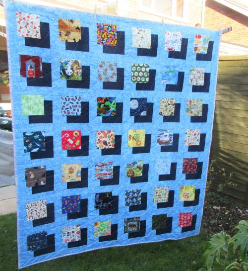 I-Spy Shadow Quilt on washing line by Allison Reid