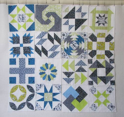 PS Quilt Club Blocks on design wall by Allison Reid
