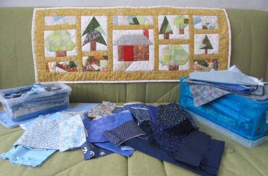 Into the Woods runner and blue stash by Allison Reid