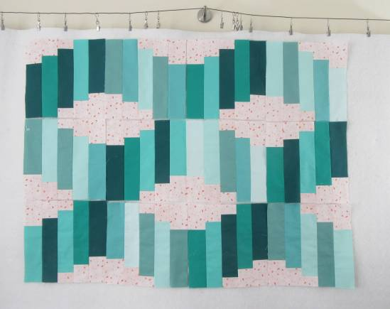 Jelly Roll Waves QAL A and B blocks by Allison Reid