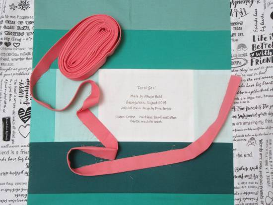 Jelly Roll Waves label and binding by Allison Reid