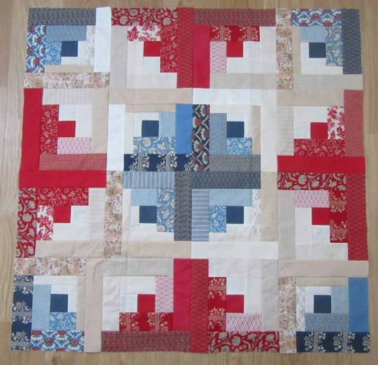 Log Cabin Workshop quilt top by Allison Reid