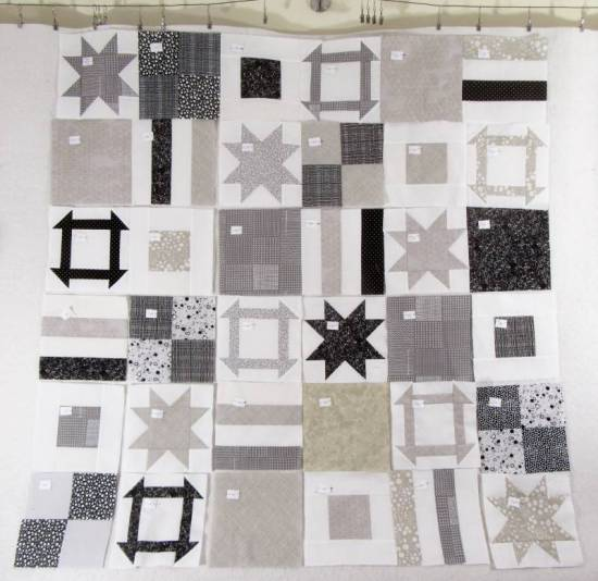 Dashing Stars 4 all blocks on design wall by Allison Reid