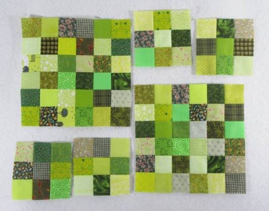 Rainbow Scrap Challenge 2020 green blocks by Allison Reid
