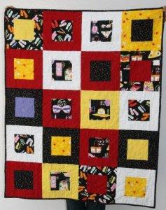 Patchwork fácil, rápido, moderno en rojo, negro, blanco, amarillo.