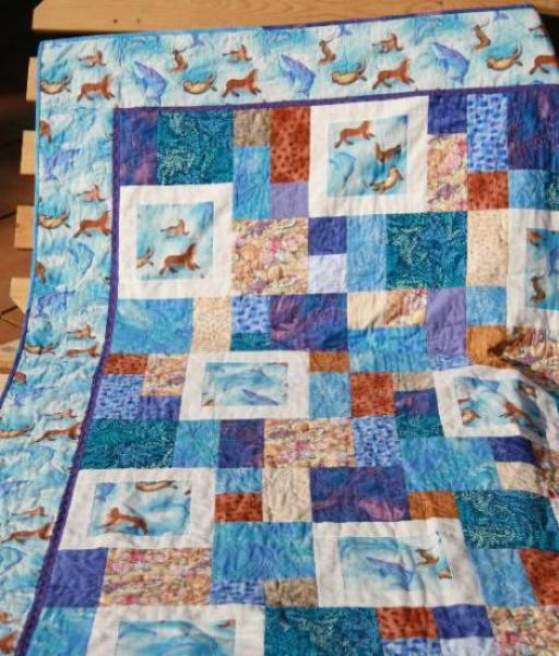 Quilt de patchwork infantil marino
