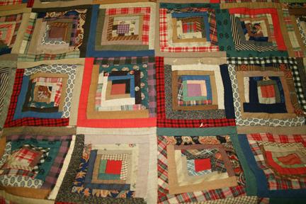 XIX century log cabin quilt